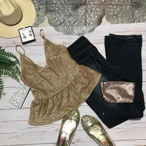 NWT Fashion Nova gold glitter sparkling top,size M